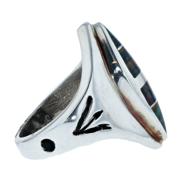 Vintage Style Navajo Marquise Black Opal Silver Inlay Ring