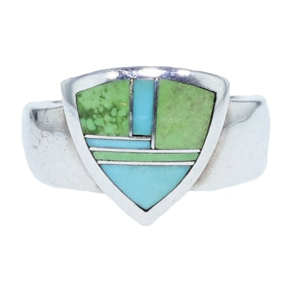 Trillion Silver Gaspeite & Turquoise Inlay Ring