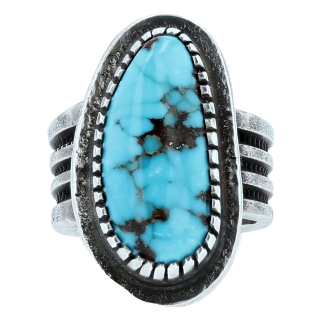 Royston Turquoise Silver Tufa Casted Ring