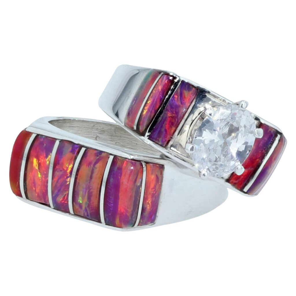 Cherry Opal & White Gemstone Silver Inlay Engagement Ring
