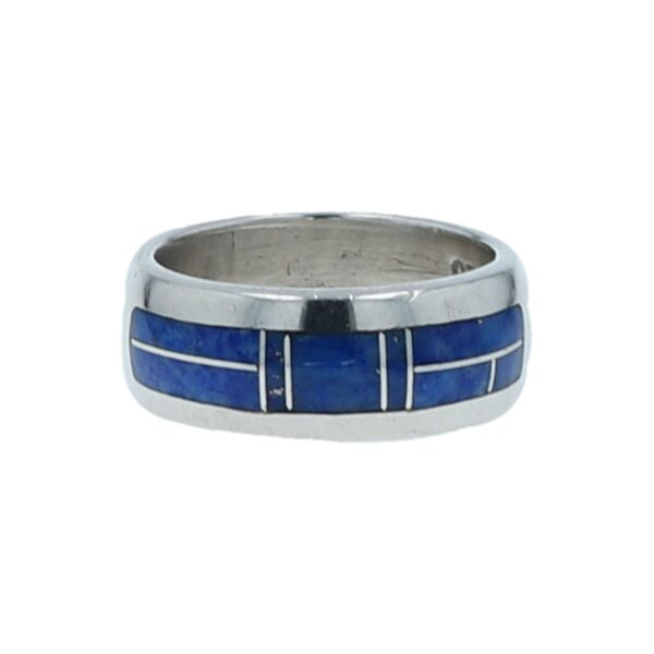 Wide Silver Border Denim Lapis Inlay Ring