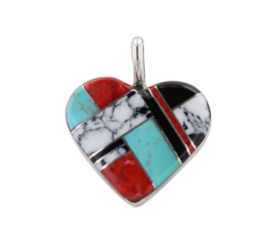 Multi-Stone Silver Inlay Heart Necklace