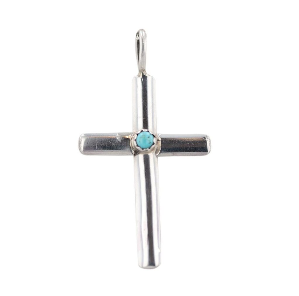 Sterling Silver Turquoise Stone Cross Necklace
