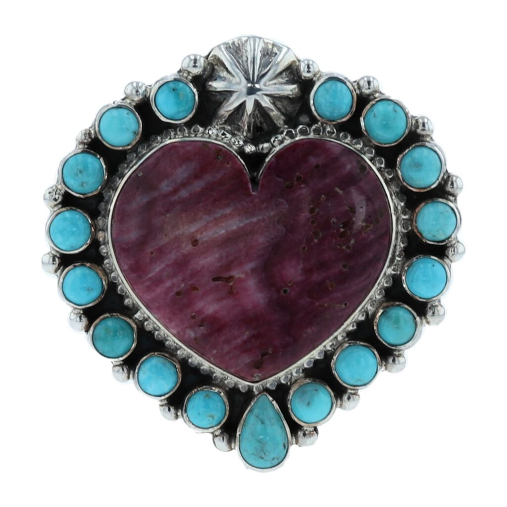 Purple Spiny Oyster Shell Heart Cluster Turquoise Ring