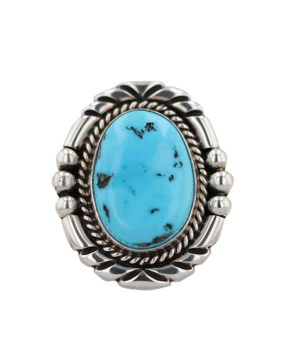 Natural Turquoise Sterling Silver Navajo Ring