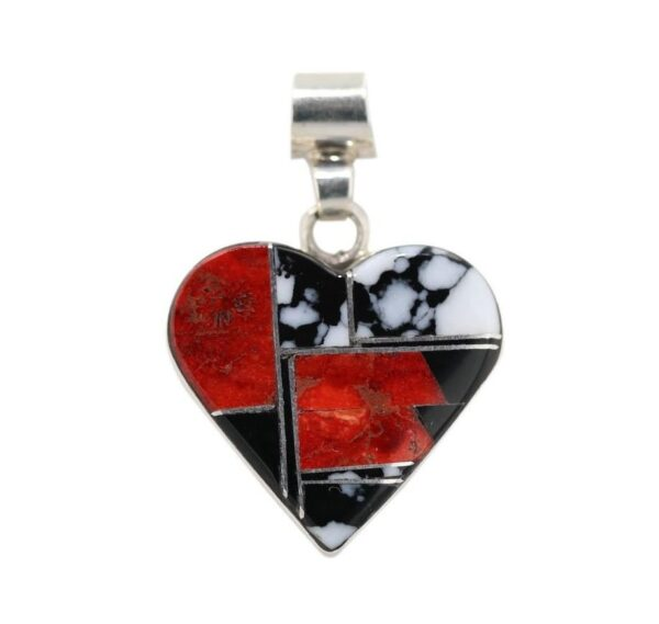 Apple Coral, White Buffalo Silver Inlay Heart Necklace