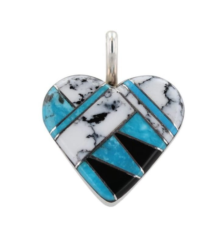 Onyx, Turquoise and White Buffalo Silver Inlay Heart Necklace