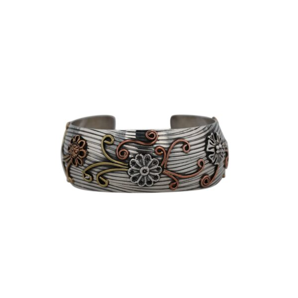 Sterling Silver Wave Plate Press and Flowers Cuff Bracelet