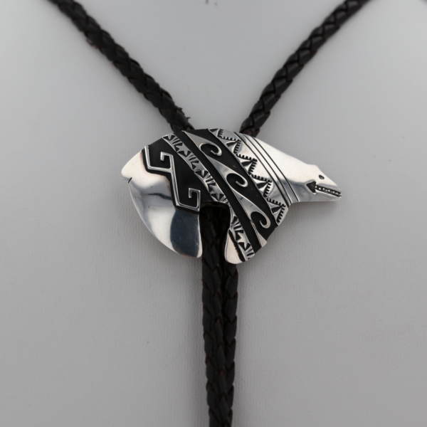 Sterling Silver Overlay Navajo Bear Bolo Tie
