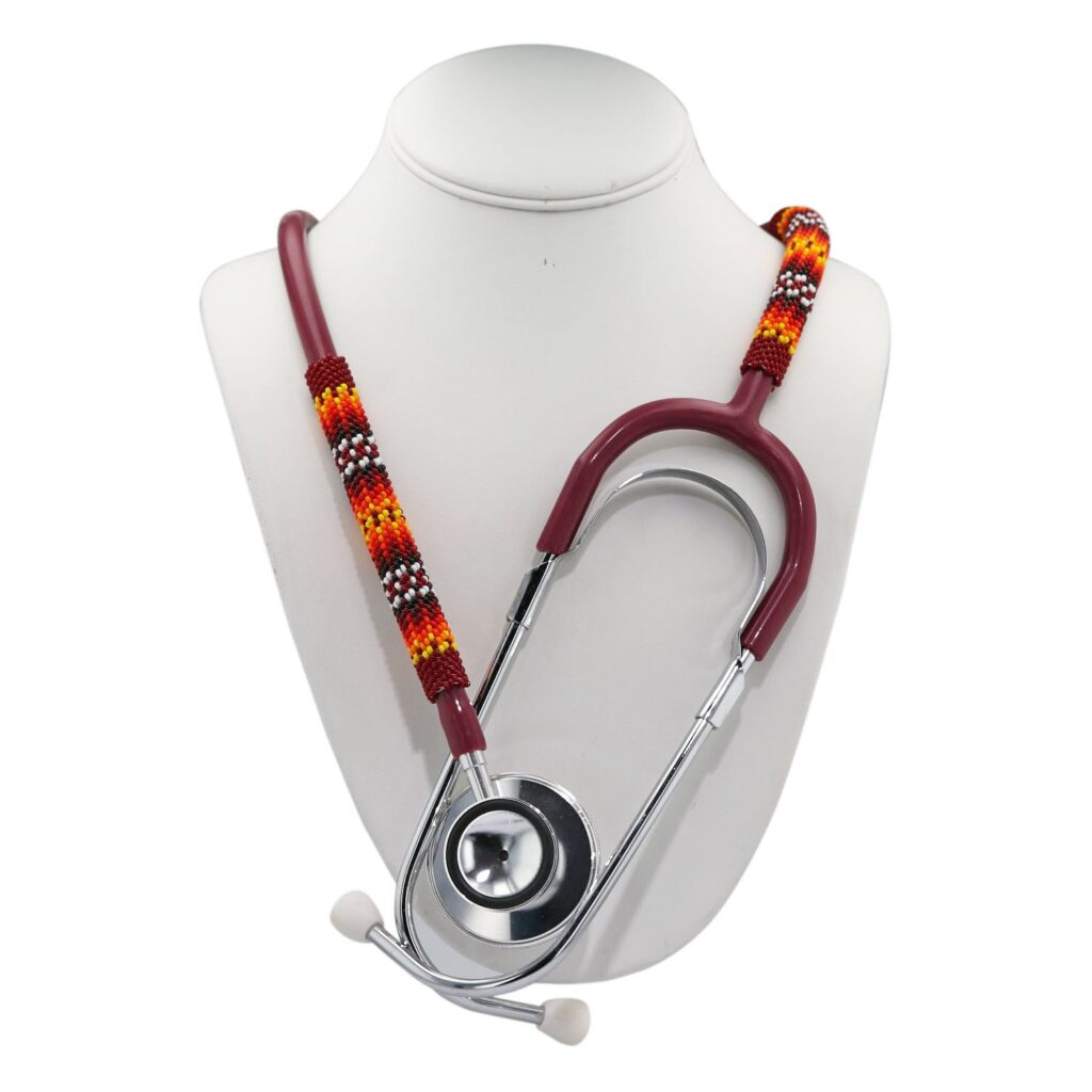 Maroon Peyote Beaded Stethoscope