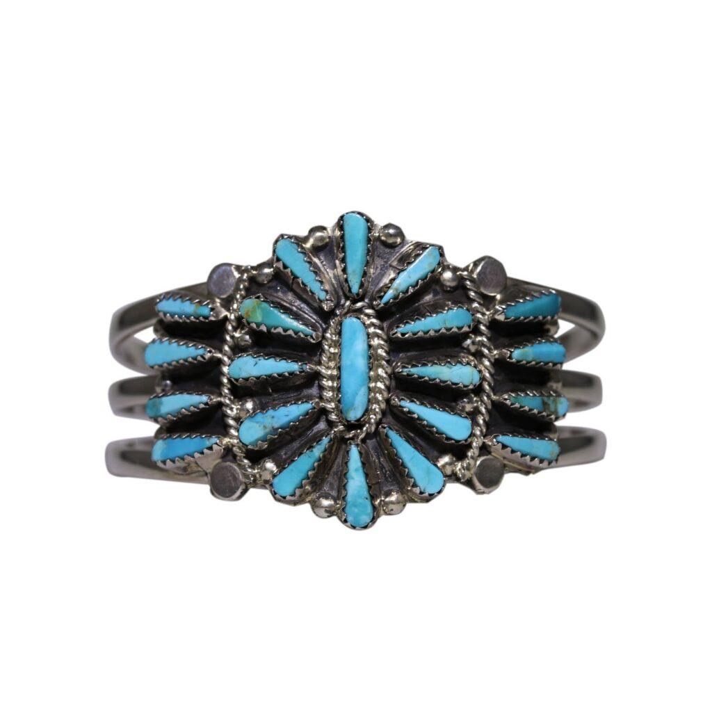 Mountain Turquoise Teardrop Cluster Bracelet by Tommy Lowe