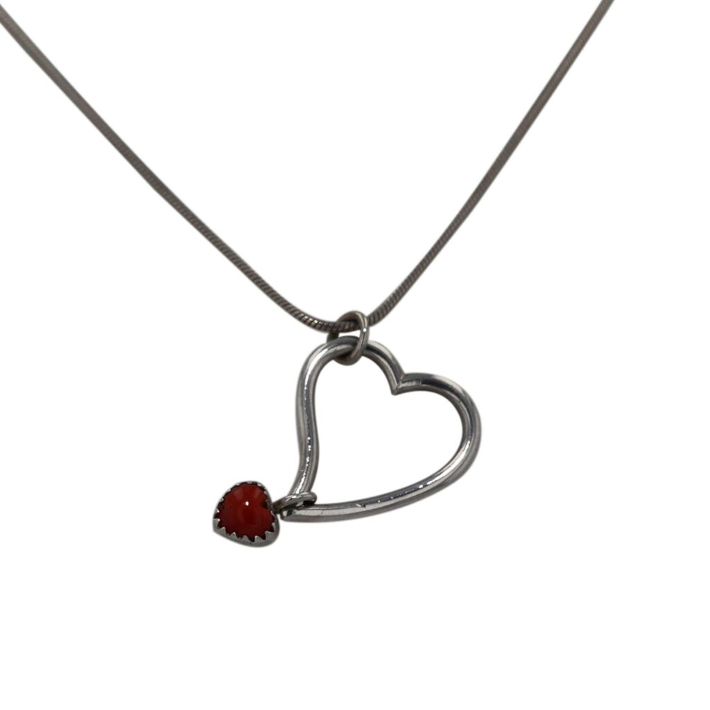 Sterling Silver Two Heart Necklace