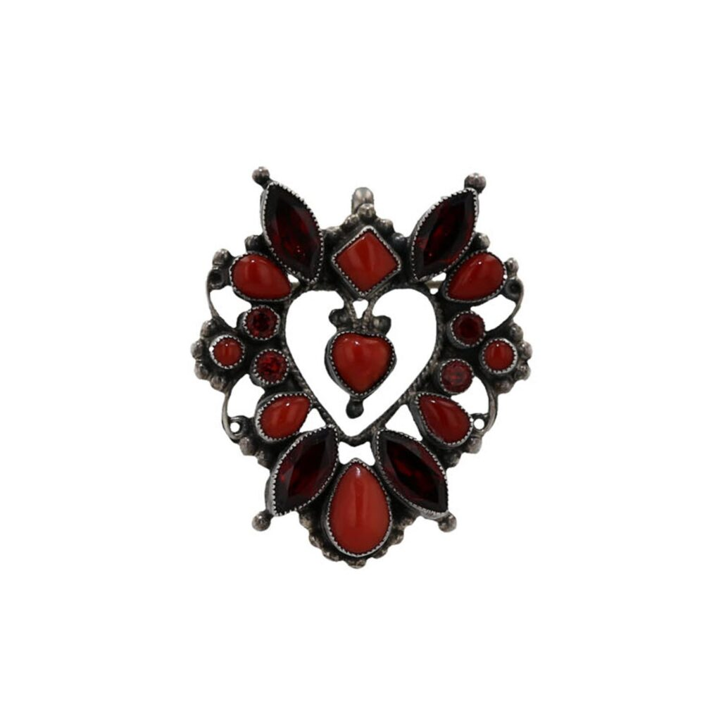 Vintage Red Heart Shaped Brooch