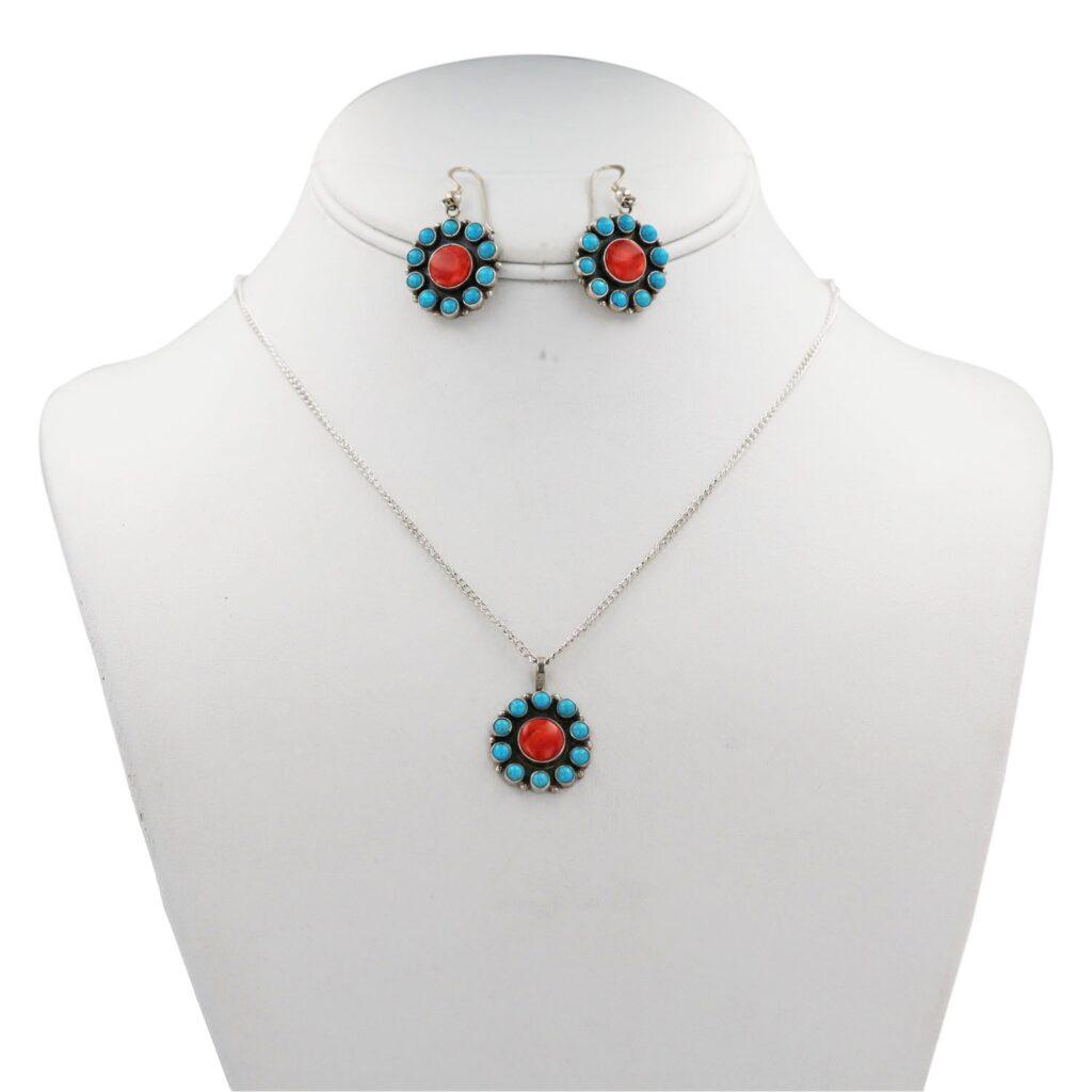 Multi Stone Cluster Flower Jewelry Set