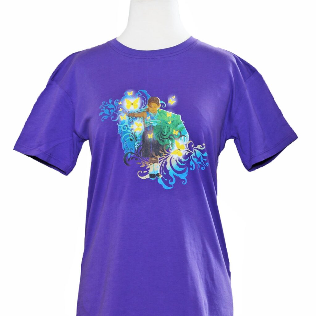 Girl with Butterflies Purple Children's T-Shirt