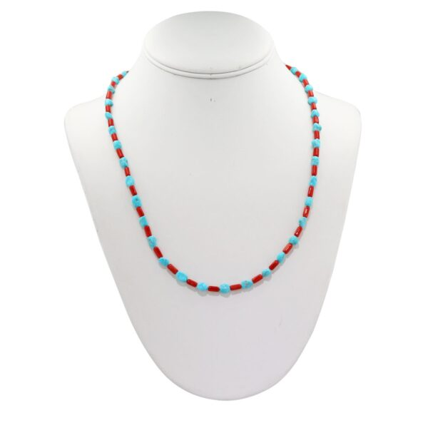 Red Coral and Turquoise Choker Strand Necklace