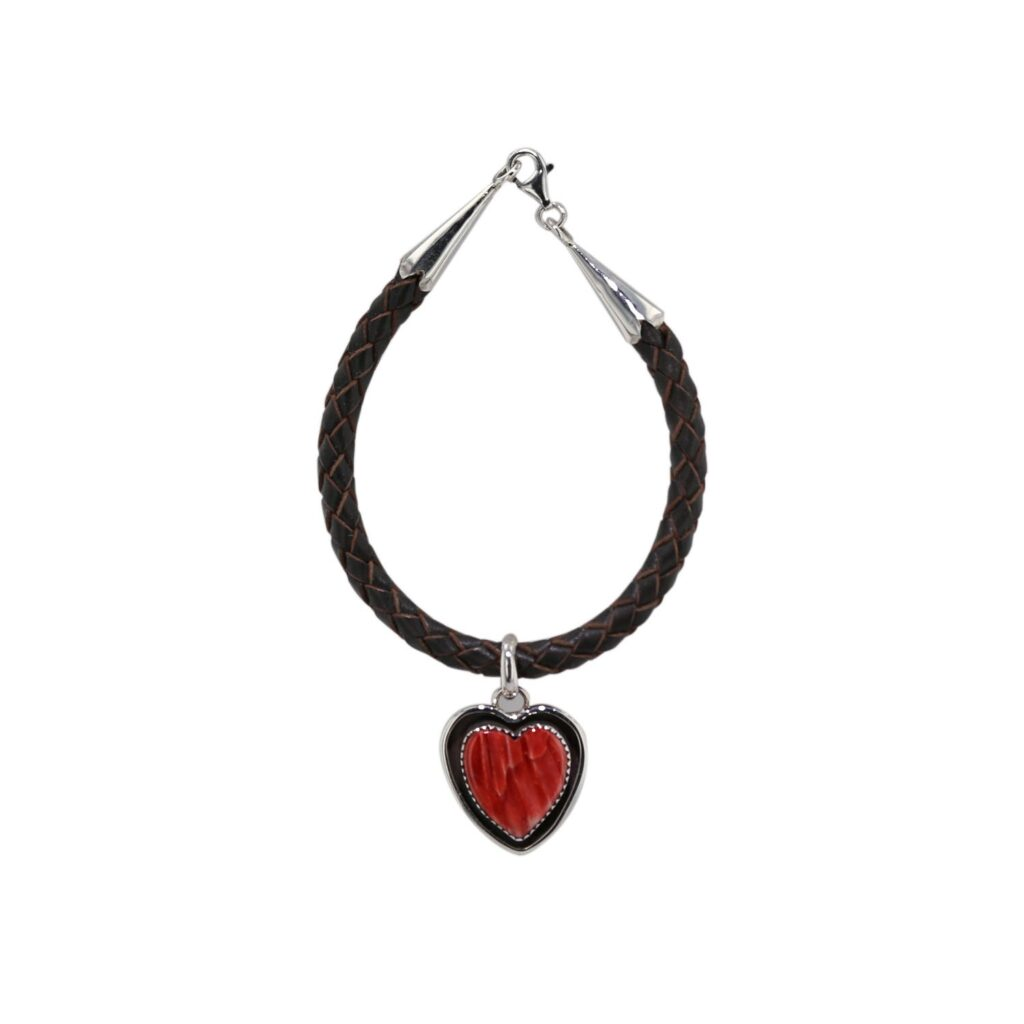 Leather Bracelet with Spiny Oyster Heart Charm
