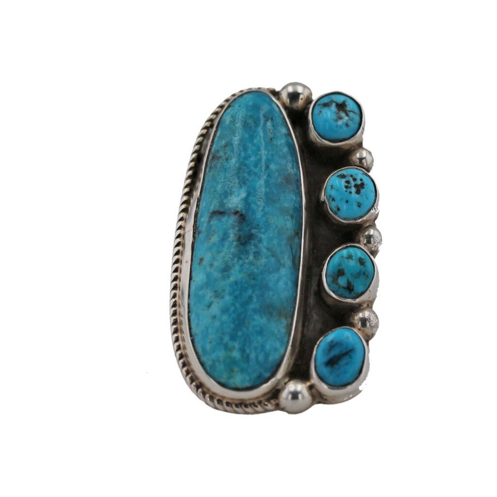 Kingman Turquoise Cluster Ring