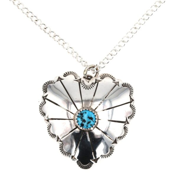 Navajo Arrow Silver Heart With Sleeping Beauty Turquoise Necklace
