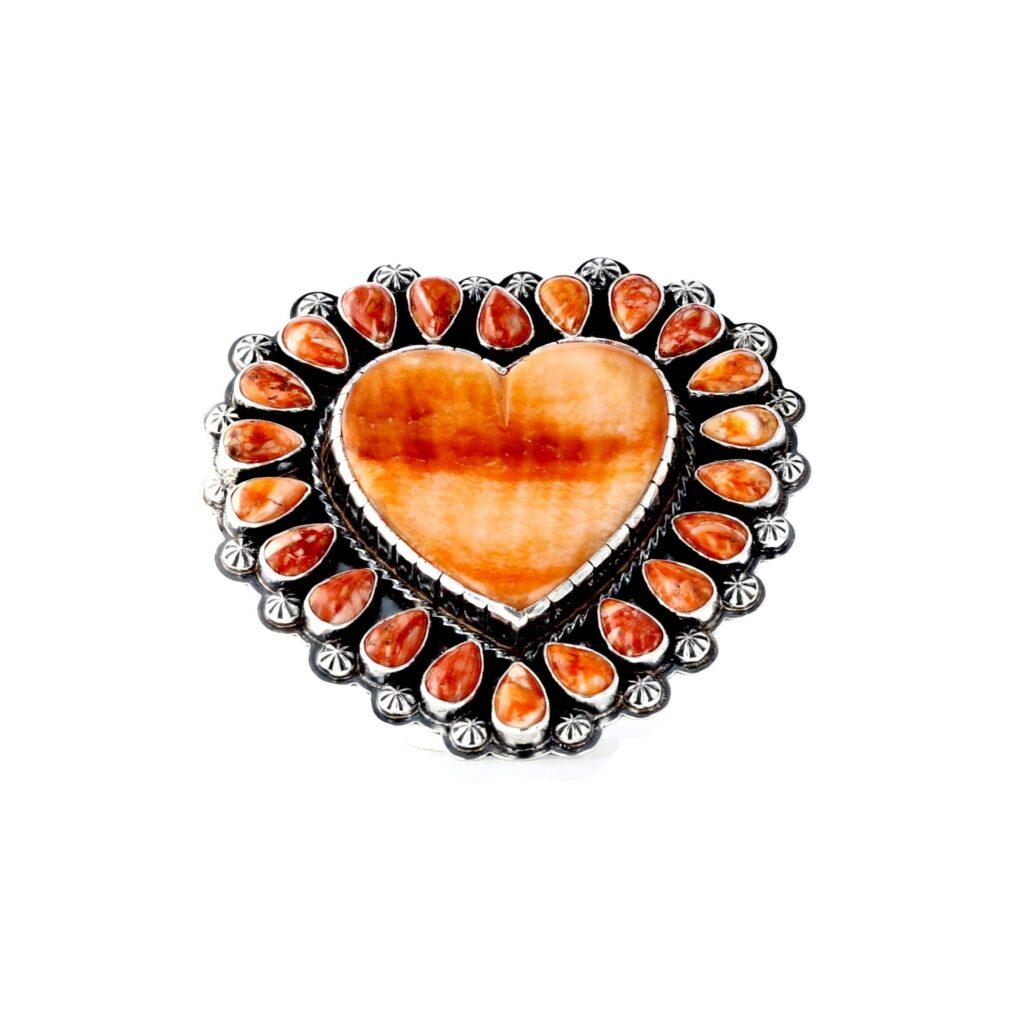 Orange Spiny Cluster Heart Ring