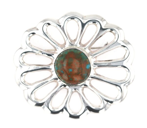 Large Turquoise Sandcast Flower Pin