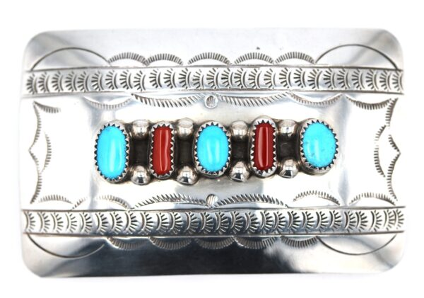Navajo Turquoise Coral Belt Buckle