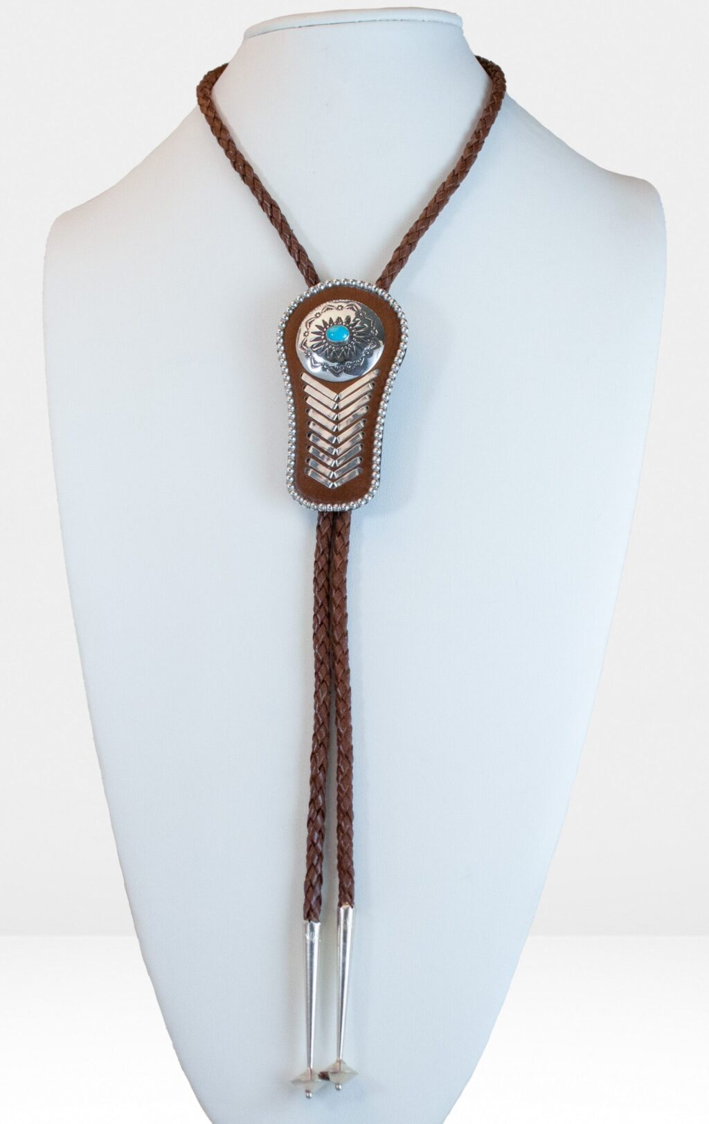 Brown Leather Bolo Tie With Silver Strips