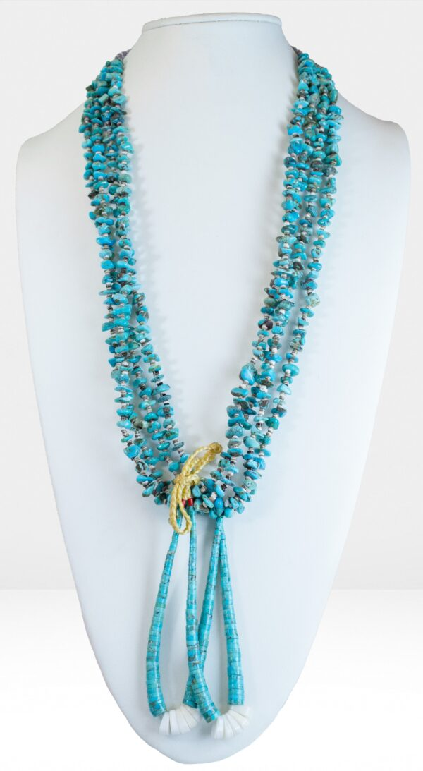 Necklace Four Strands of Turquoise with Jacla