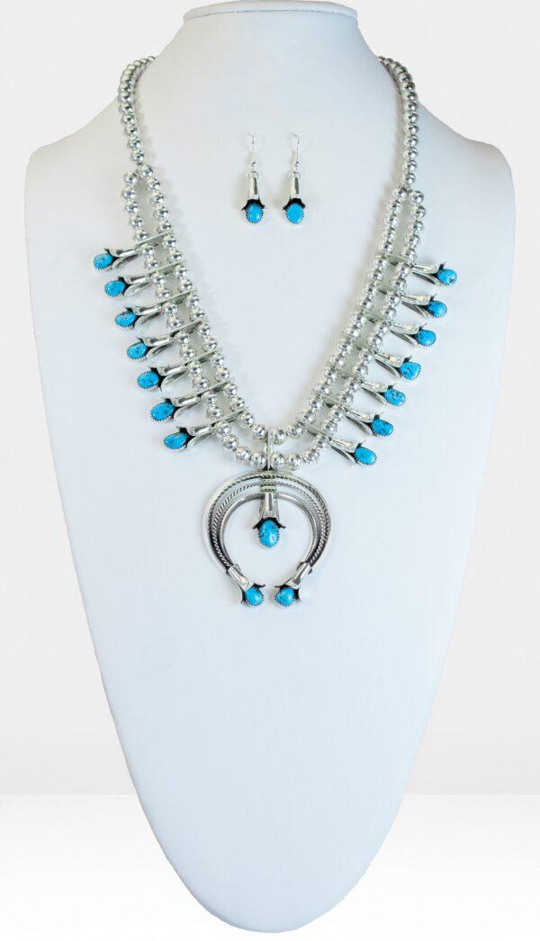 Squash Blossom Turquoise Naja Necklace