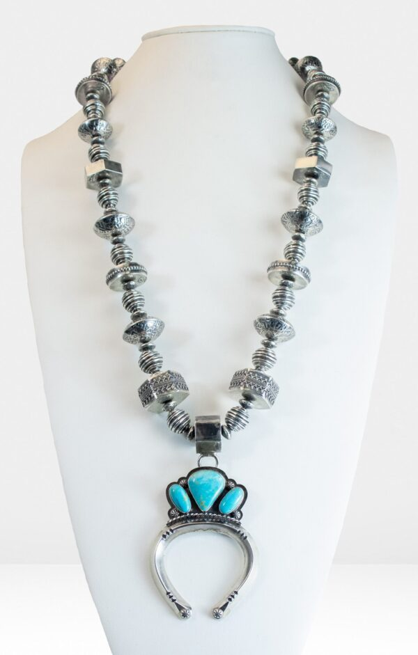 Contemporary Squash Blossom Bead Necklace with Naja