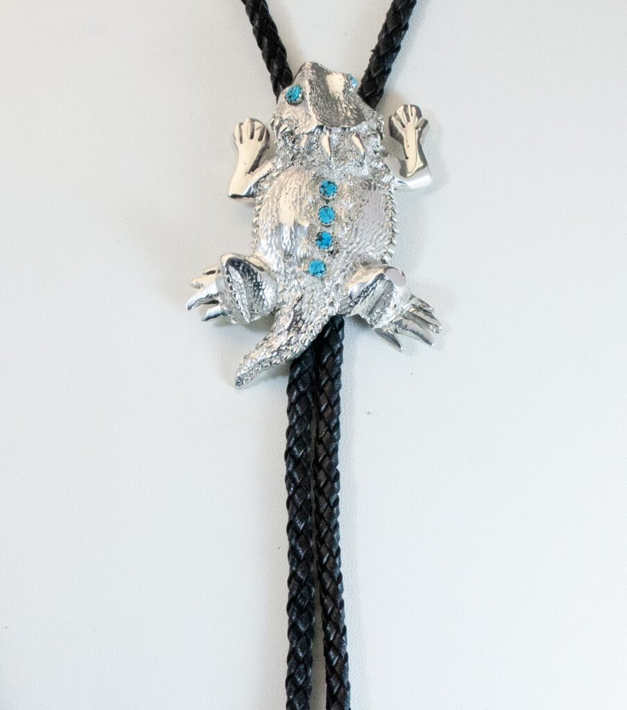 Sterling Silver Horn Toad Bolo Tie
