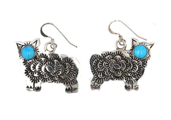 Stamped Sterling Silver Sheep Dangle Earrings