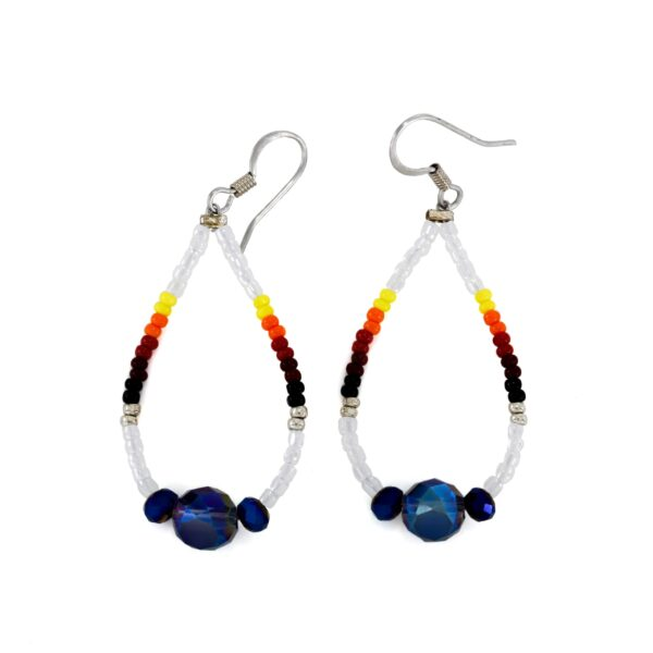Beaded Teardrop Hoop Earring