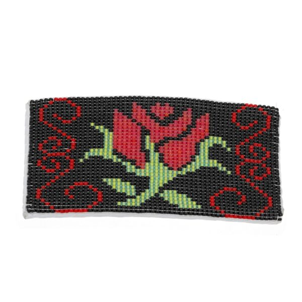 Large Beaded Red Rose Barrette