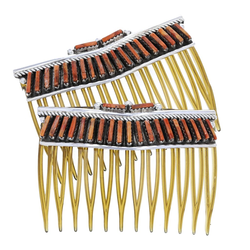 Red Spiny Oyster Needlepoint Hair Combs