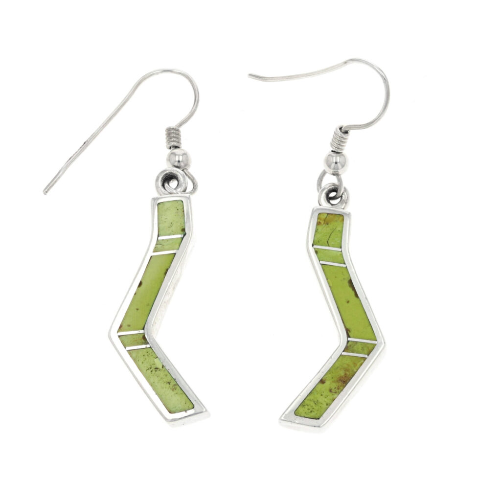 Long Sterling Silver Lightning Bolt Inlay Earrings with Gaspeite